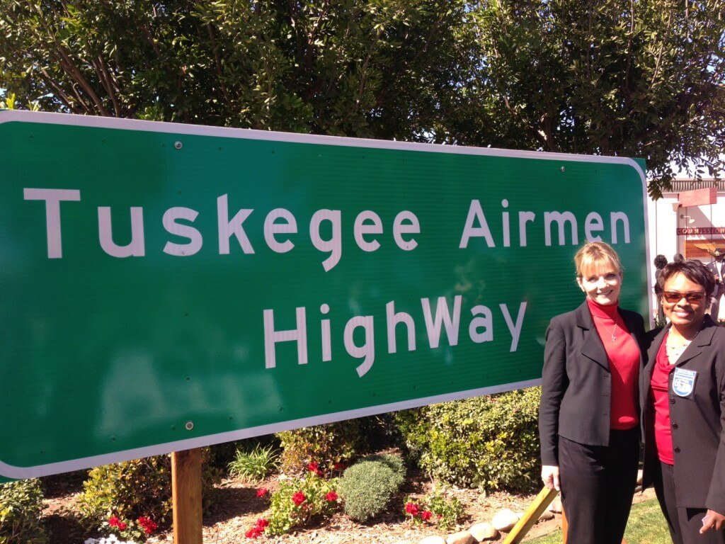 Amerit's Eve Nasby with President of the Tuskegee Airmen San Diego Chapter, Paulette Mello.